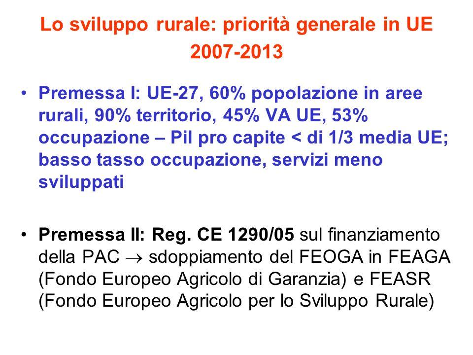 Lo sviluppo rurale: priorità generale in UE 2007-2013 Premessa I: UE-27, 60% popolazione in aree rurali, 90% territorio, 45% VA UE, 53% occupazione –