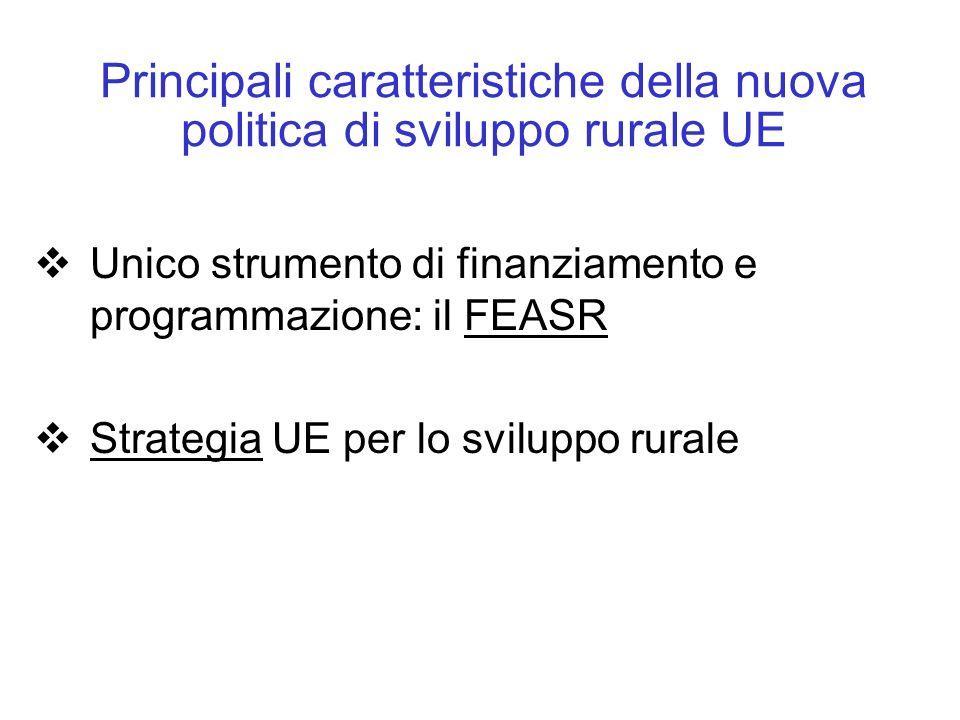 Principali caratteristiche della nuova politica di sviluppo rurale UE Unico strumento di finanziamento e programmazione: il FEASR Strategia UE per lo