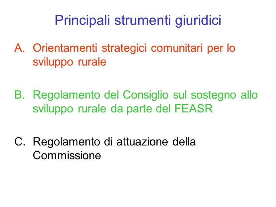 Principali strumenti giuridici A.Orientamenti strategici comunitari per lo sviluppo rurale B.Regolamento del Consiglio sul sostegno allo sviluppo rura