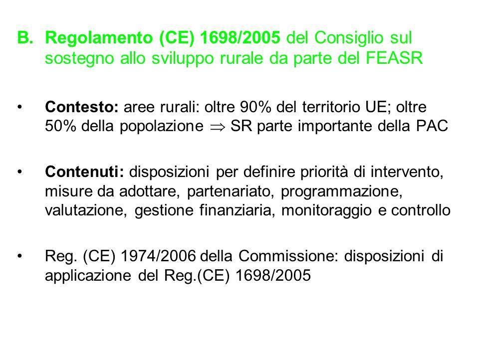 B.Regolamento (CE) 1698/2005 del Consiglio sul sostegno allo sviluppo rurale da parte del FEASR Contesto: aree rurali: oltre 90% del territorio UE; ol