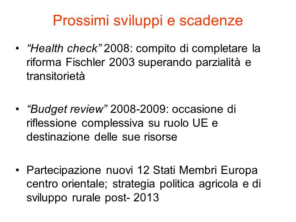 Prossimi sviluppi e scadenze Health check 2008: compito di completare la riforma Fischler 2003 superando parzialità e transitorietà Budget review 2008