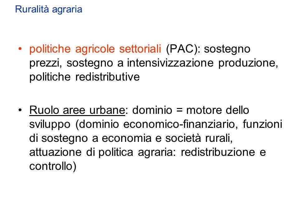 politiche agricole settoriali (PAC): sostegno prezzi, sostegno a intensivizzazione produzione, politiche redistributive Ruolo aree urbane: dominio = m