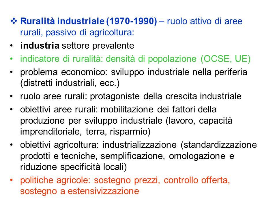 Ruralità industriale (1970-1990) – ruolo attivo di aree rurali, passivo di agricoltura: industria settore prevalente indicatore di ruralità: densità d