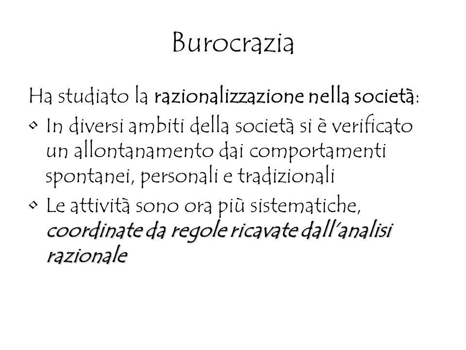 Burocrazia Ha studiato la razionalizzazione nella società: In diversi ambiti della società si è verificato un allontanamento dai comportamenti spontan