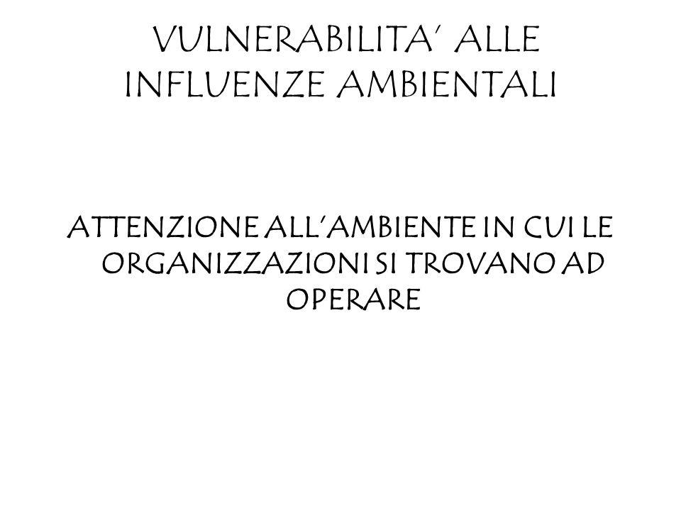VULNERABILITA ALLE INFLUENZE AMBIENTALI ATTENZIONE ALLAMBIENTE IN CUI LE ORGANIZZAZIONI SI TROVANO AD OPERARE