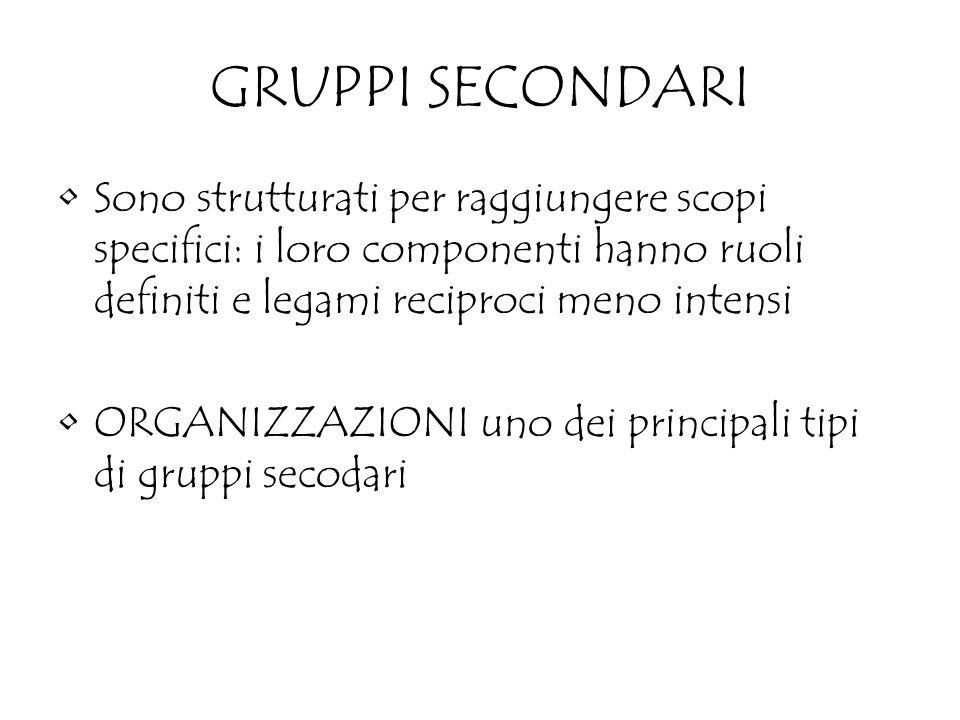 GRUPPI SECONDARI Sono strutturati per raggiungere scopi specifici: i loro componenti hanno ruoli definiti e legami reciproci meno intensi ORGANIZZAZIONI uno dei principali tipi di gruppi secodari