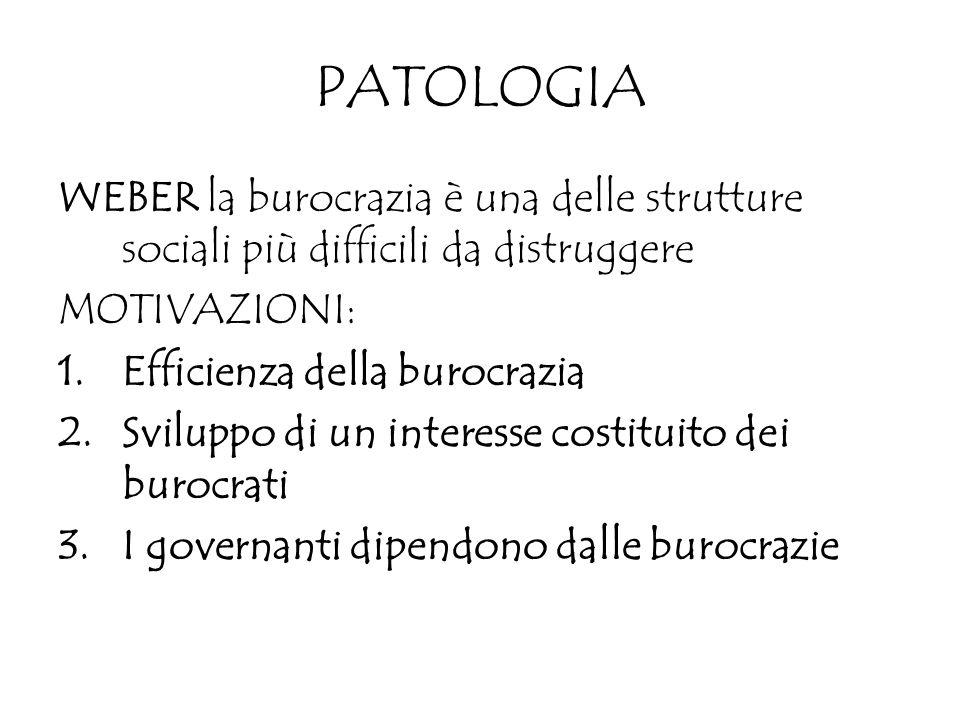 PATOLOGIA WEBER la burocrazia è una delle strutture sociali più difficili da distruggere MOTIVAZIONI: 1.Efficienza della burocrazia 2.Sviluppo di un i