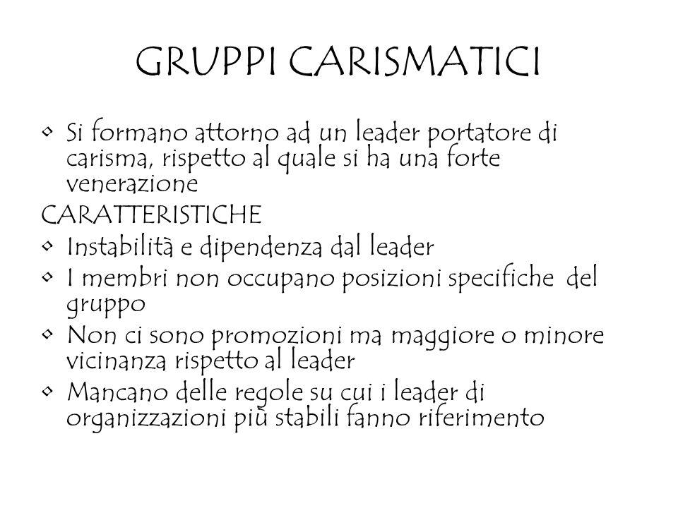GRUPPI CARISMATICI Si formano attorno ad un leader portatore di carisma, rispetto al quale si ha una forte venerazione CARATTERISTICHE Instabilità e d