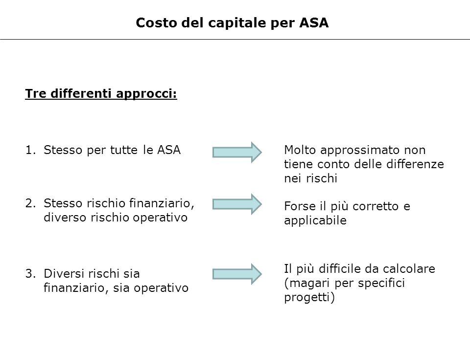 Costo del capitale per ASA Tre differenti approcci: 1.Stesso per tutte le ASA 2.Stesso rischio finanziario, diverso rischio operativo 3.Diversi rischi