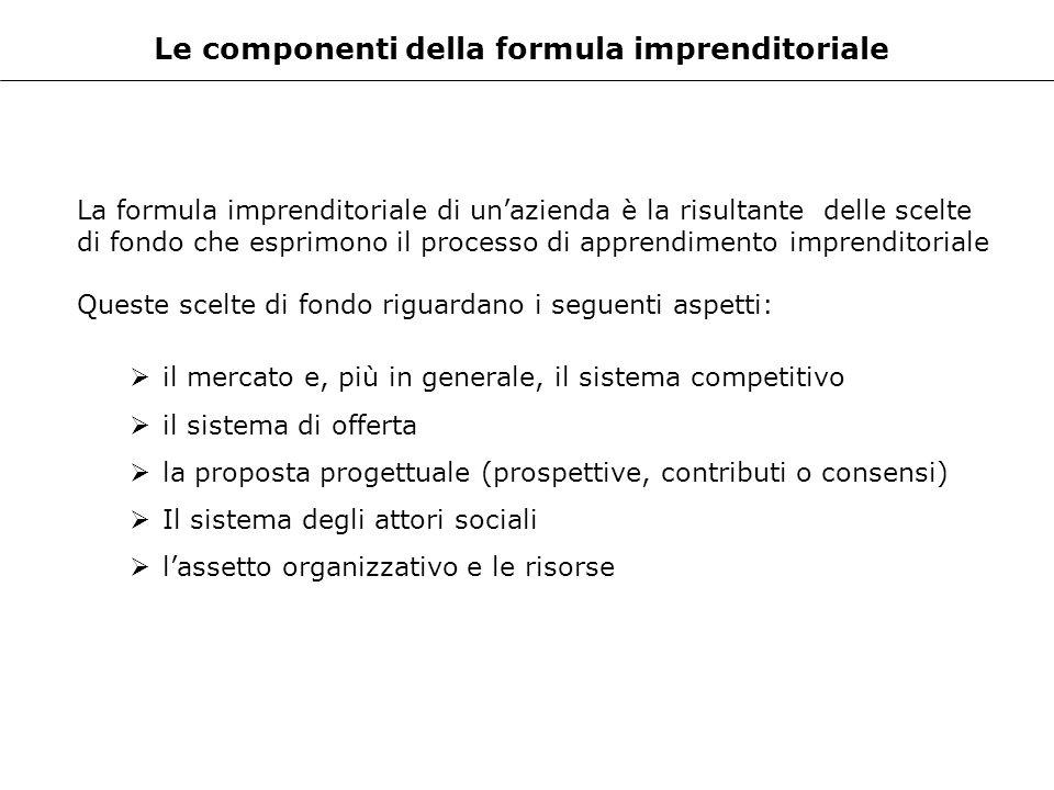 Le componenti della formula imprenditoriale La formula imprenditoriale di unazienda è la risultante delle scelte di fondo che esprimono il processo di