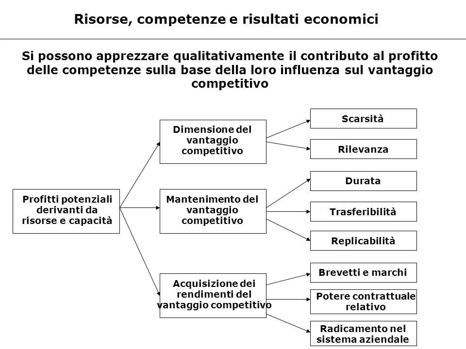 Risorse, competenze e risultati economici Si possono apprezzare qualitativamente il contributo al profitto delle competenze sulla base della loro infl