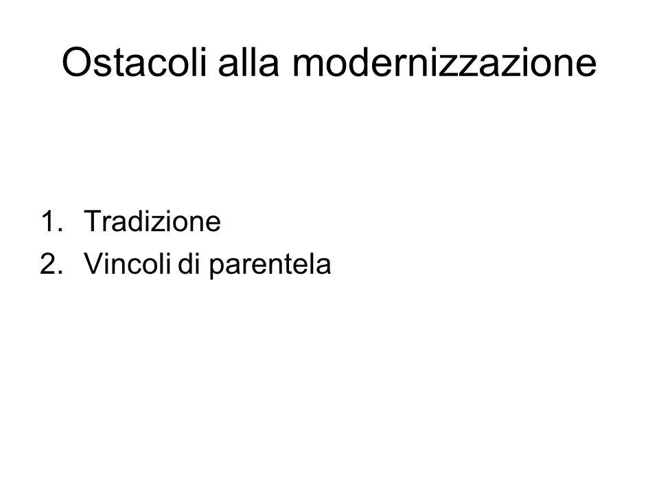 Ostacoli alla modernizzazione 1.Tradizione 2.Vincoli di parentela