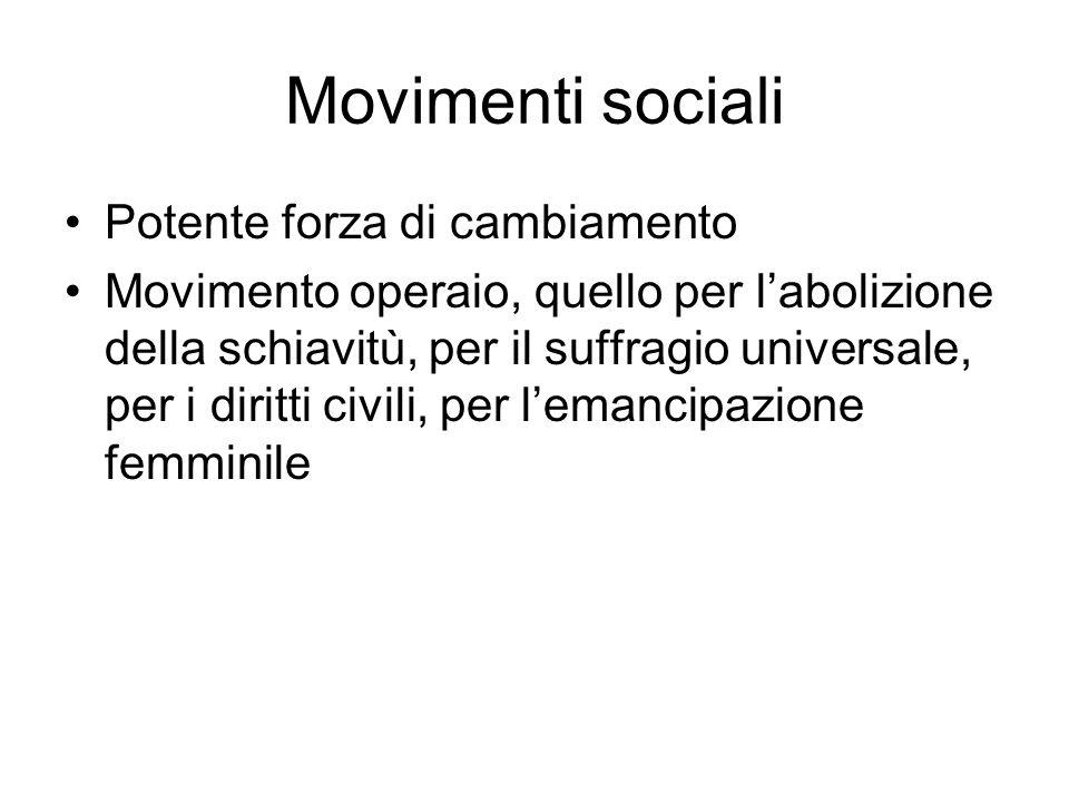 Movimenti sociali Potente forza di cambiamento Movimento operaio, quello per labolizione della schiavitù, per il suffragio universale, per i diritti c