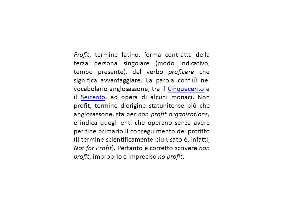 Profit, termine latino, forma contratta della terza persona singolare (modo indicativo, tempo presente), del verbo proficere che significa avvantaggia