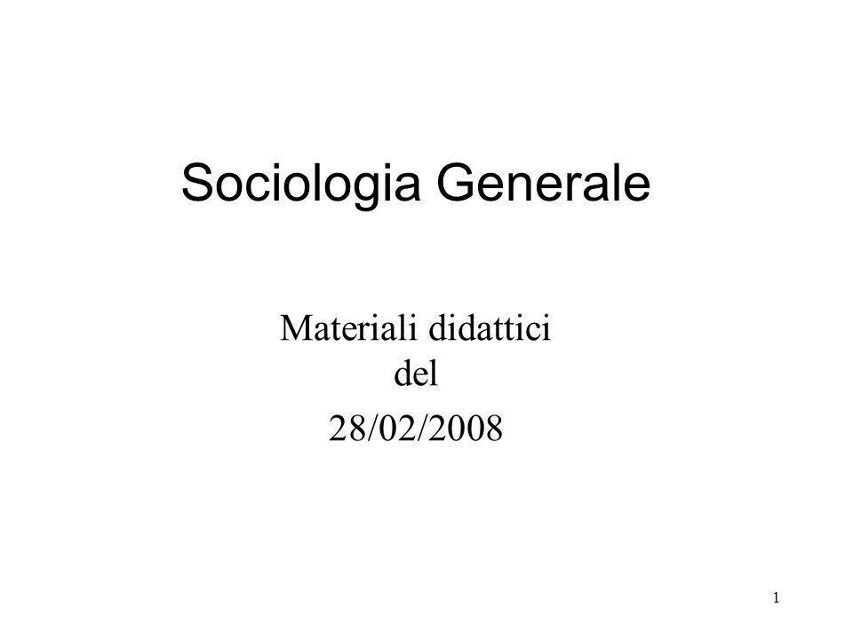 1 Sociologia Generale Materiali didattici del 28/02/2008