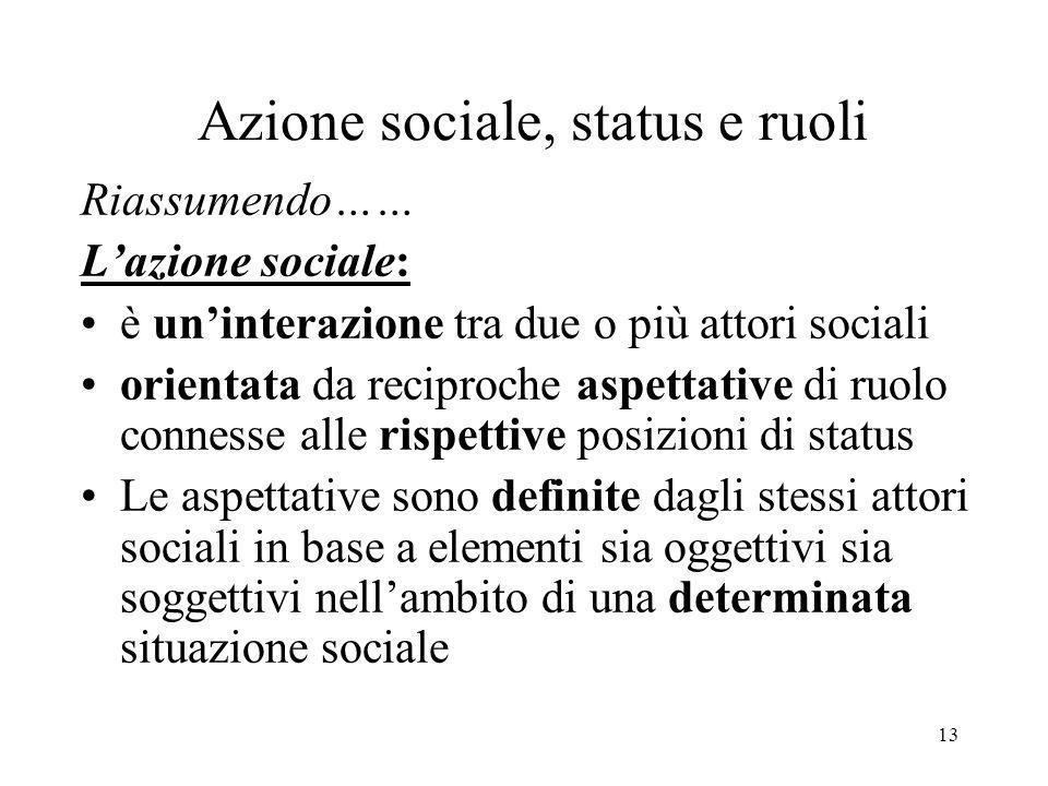 13 Azione sociale, status e ruoli Riassumendo…… Lazione sociale: è uninterazione tra due o più attori sociali orientata da reciproche aspettative di r