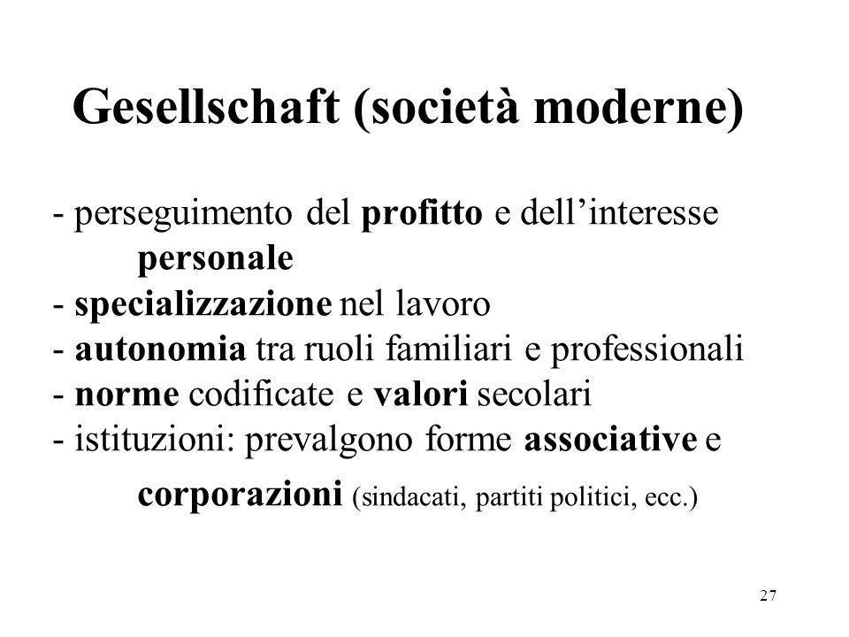 27 - perseguimento del profitto e dellinteresse personale - specializzazione nel lavoro - autonomia tra ruoli familiari e professionali - norme codifi