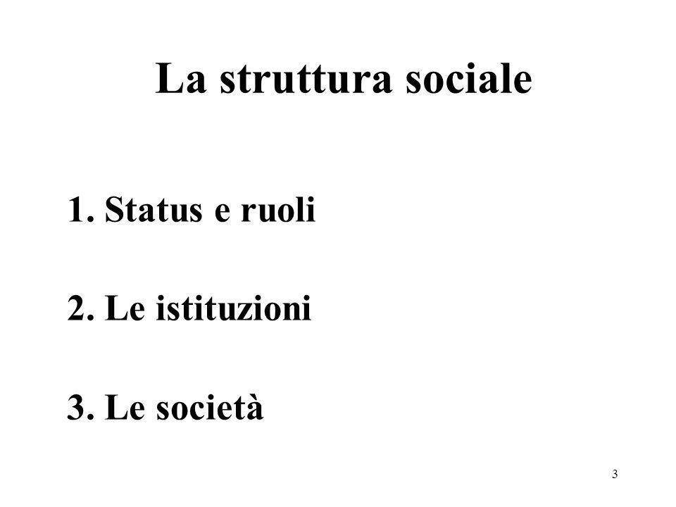 3 La struttura sociale 1. Status e ruoli 2. Le istituzioni 3. Le società