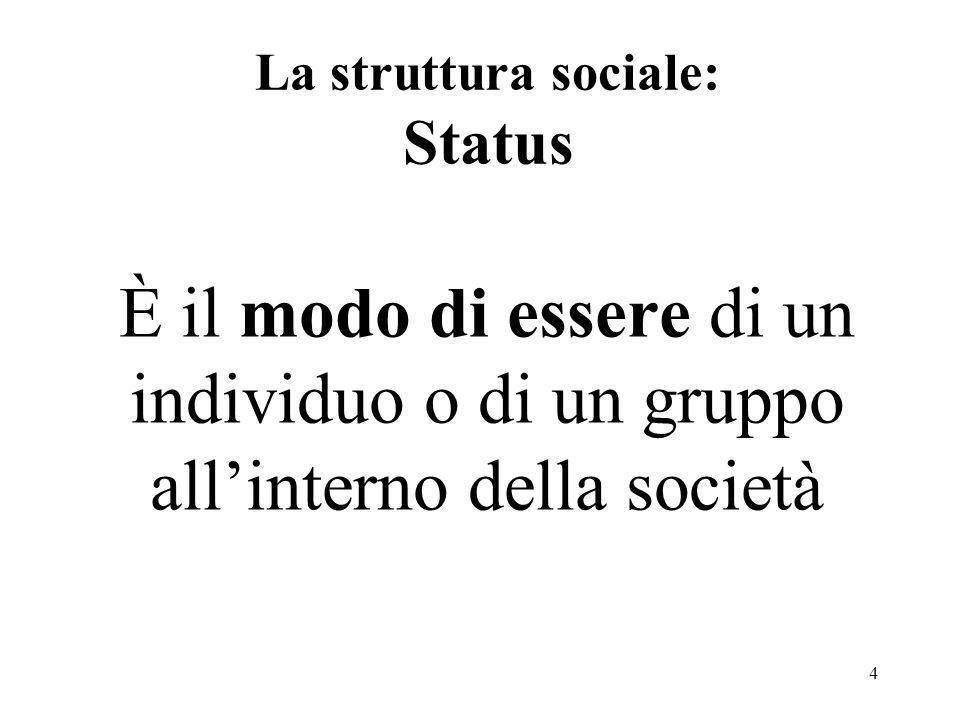 4 La struttura sociale: Status È il modo di essere di un individuo o di un gruppo allinterno della società