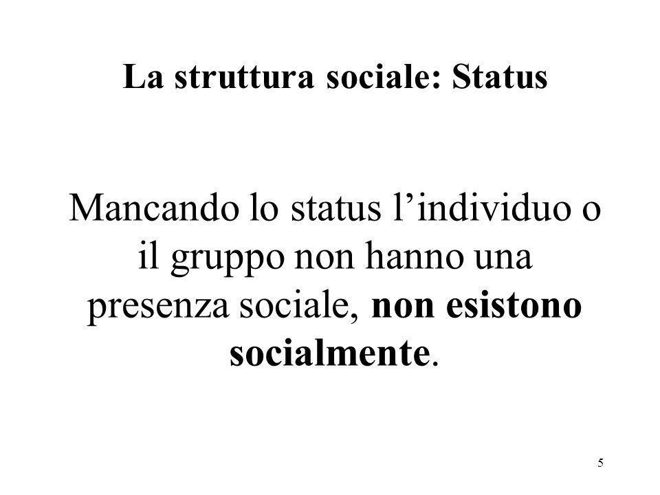 5 La struttura sociale: Status Mancando lo status lindividuo o il gruppo non hanno una presenza sociale, non esistono socialmente.