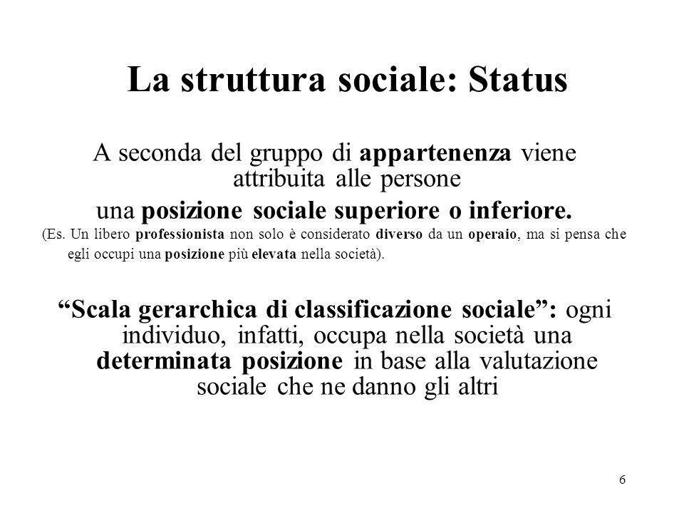 6 La struttura sociale: Status A seconda del gruppo di appartenenza viene attribuita alle persone una posizione sociale superiore o inferiore. (Es. Un