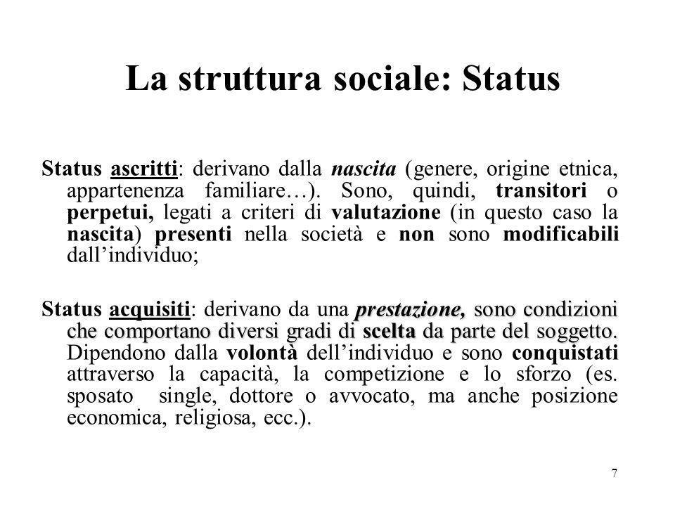 7 La struttura sociale: Status Status ascritti: derivano dalla nascita (genere, origine etnica, appartenenza familiare…). Sono, quindi, transitori o p