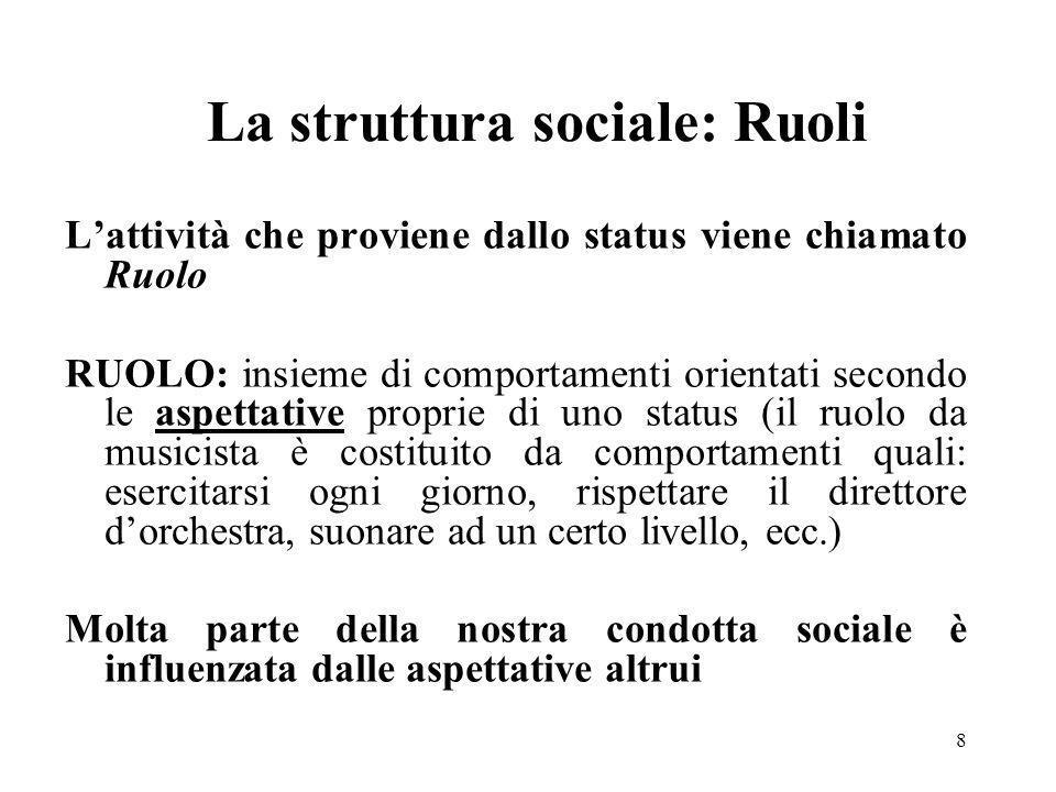 8 La struttura sociale: Ruoli Lattività che proviene dallo status viene chiamato Ruolo RUOLO: insieme di comportamenti orientati secondo le aspettativ