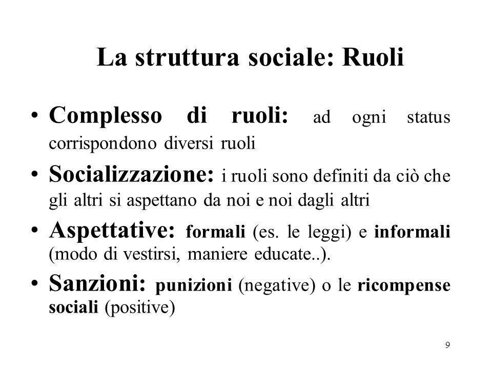 9 La struttura sociale: Ruoli Complesso di ruoli: ad ogni status corrispondono diversi ruoli Socializzazione: i ruoli sono definiti da ciò che gli alt