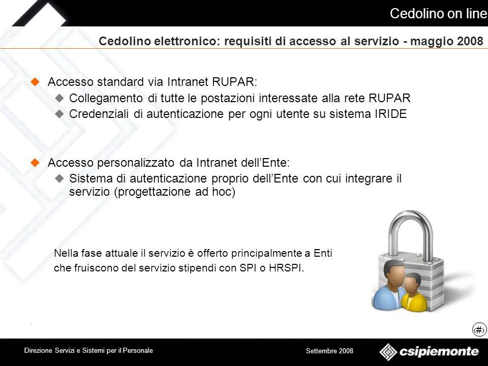 Cedolino on line 11 Direzione Servizi e Sistemi per il Personale Settembre 2008 Cedolino elettronico: requisiti di accesso al servizio - maggio 2008 A