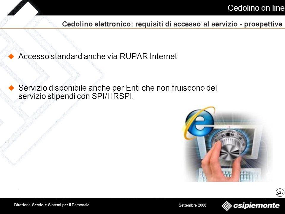 Cedolino on line 12 Direzione Servizi e Sistemi per il Personale Settembre 2008 Cedolino elettronico: requisiti di accesso al servizio - prospettive A