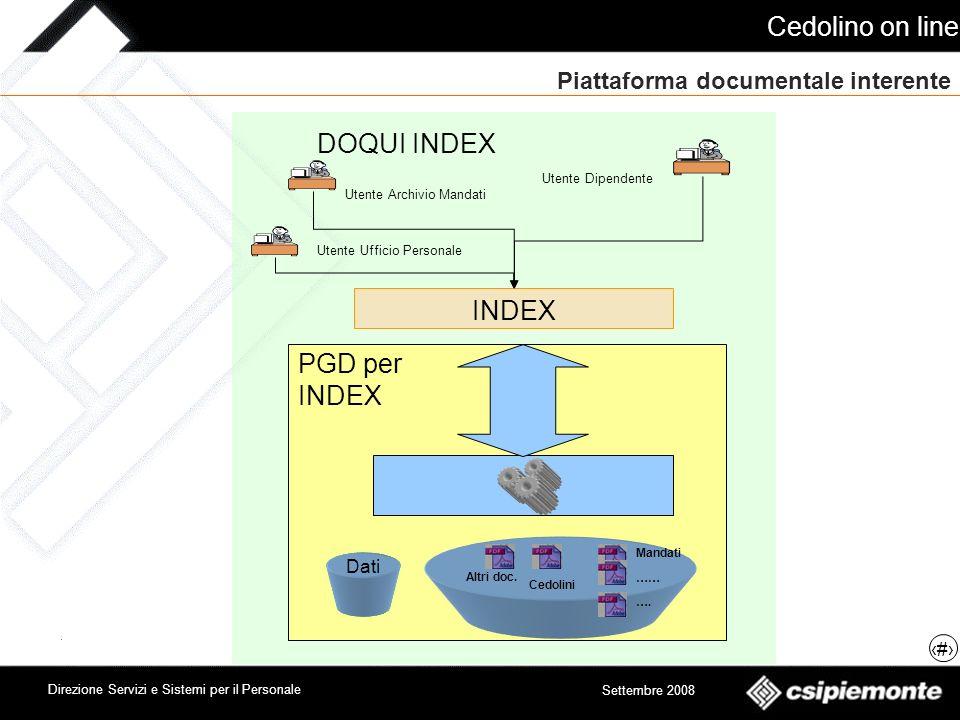 Cedolino on line 5 Direzione Servizi e Sistemi per il Personale Settembre 2008 Piattaforma documentale interente DOQUI INDEX INDEX Cedolini Altri doc.
