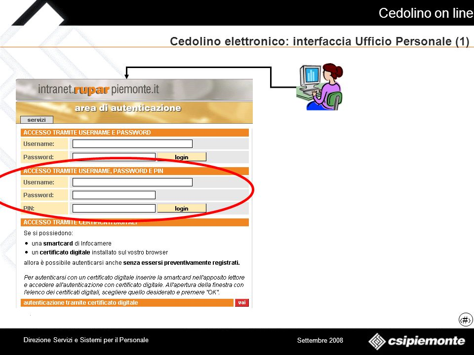 Cedolino on line 10 Direzione Servizi e Sistemi per il Personale Settembre 2008 Cedolino elettronico: interfaccia Ufficio Personale (2)