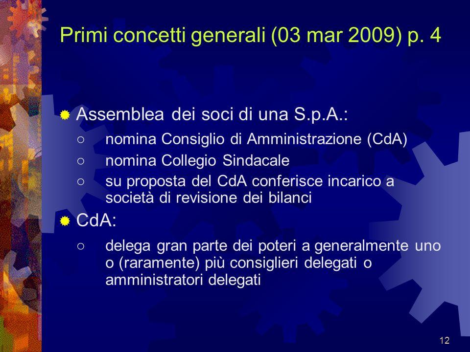 12 Primi concetti generali (03 mar 2009) p. 4 Assemblea dei soci di una S.p.A.: nomina Consiglio di Amministrazione (CdA) nomina Collegio Sindacale su