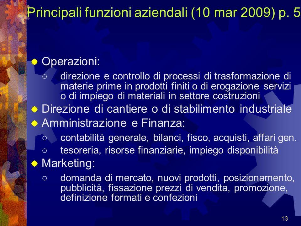 13 Principali funzioni aziendali (10 mar 2009) p. 5 Operazioni: direzione e controllo di processi di trasformazione di materie prime in prodotti finit