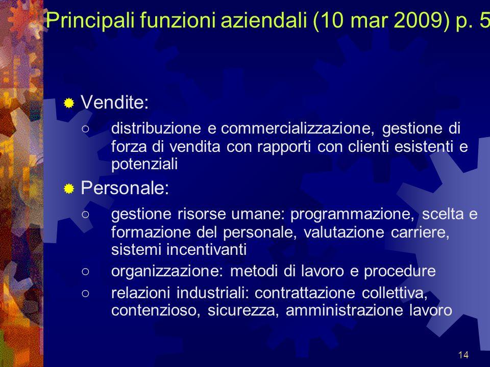14 Principali funzioni aziendali (10 mar 2009) p. 5 Vendite: distribuzione e commercializzazione, gestione di forza di vendita con rapporti con client