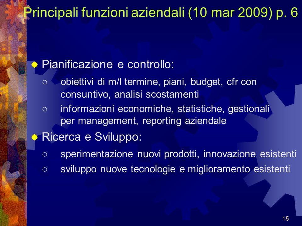 15 Principali funzioni aziendali (10 mar 2009) p. 6 Pianificazione e controllo: obiettivi di m/l termine, piani, budget, cfr con consuntivo, analisi s