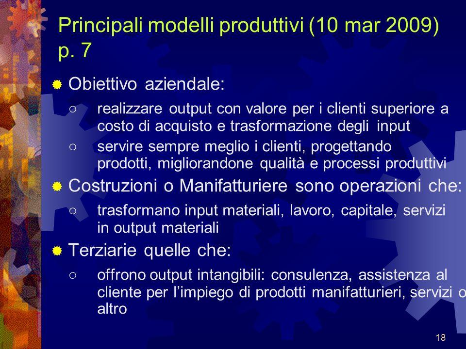 18 Principali modelli produttivi (10 mar 2009) p. 7 Obiettivo aziendale: realizzare output con valore per i clienti superiore a costo di acquisto e tr