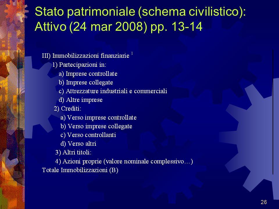 26 Stato patrimoniale (schema civilistico): Attivo (24 mar 2008) pp. 13-14