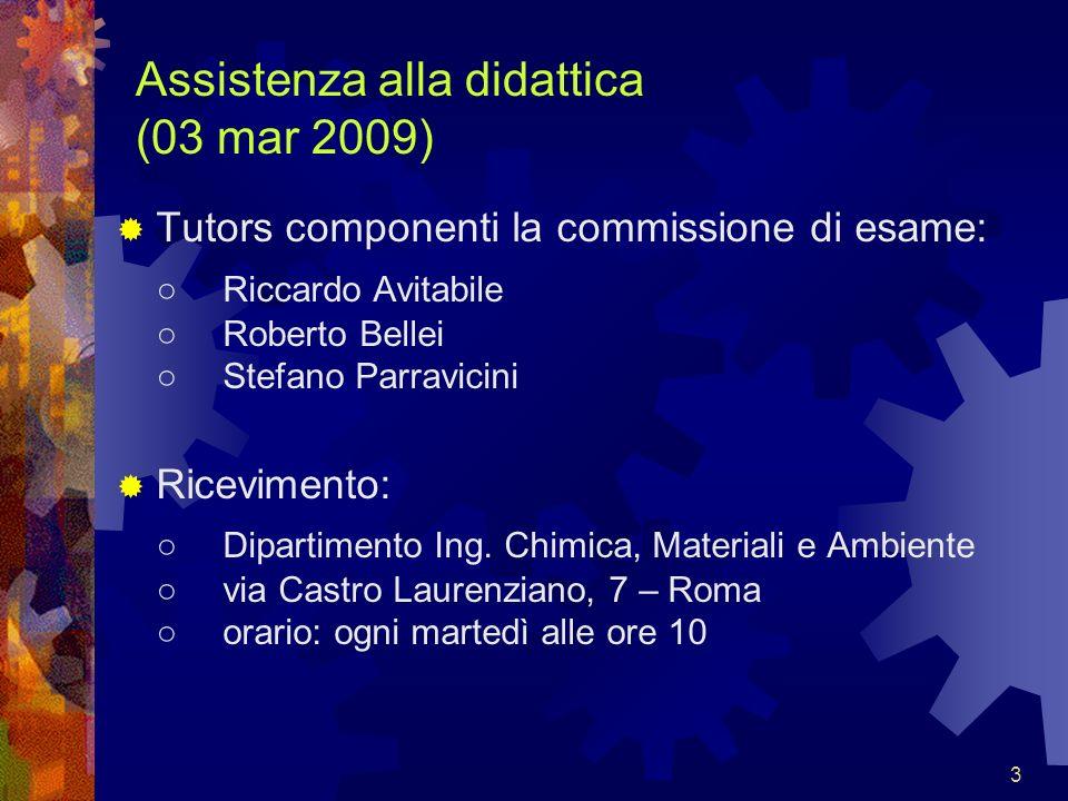 3 Assistenza alla didattica (03 mar 2009) Tutors componenti la commissione di esame: Riccardo Avitabile Roberto Bellei Stefano Parravicini Ricevimento