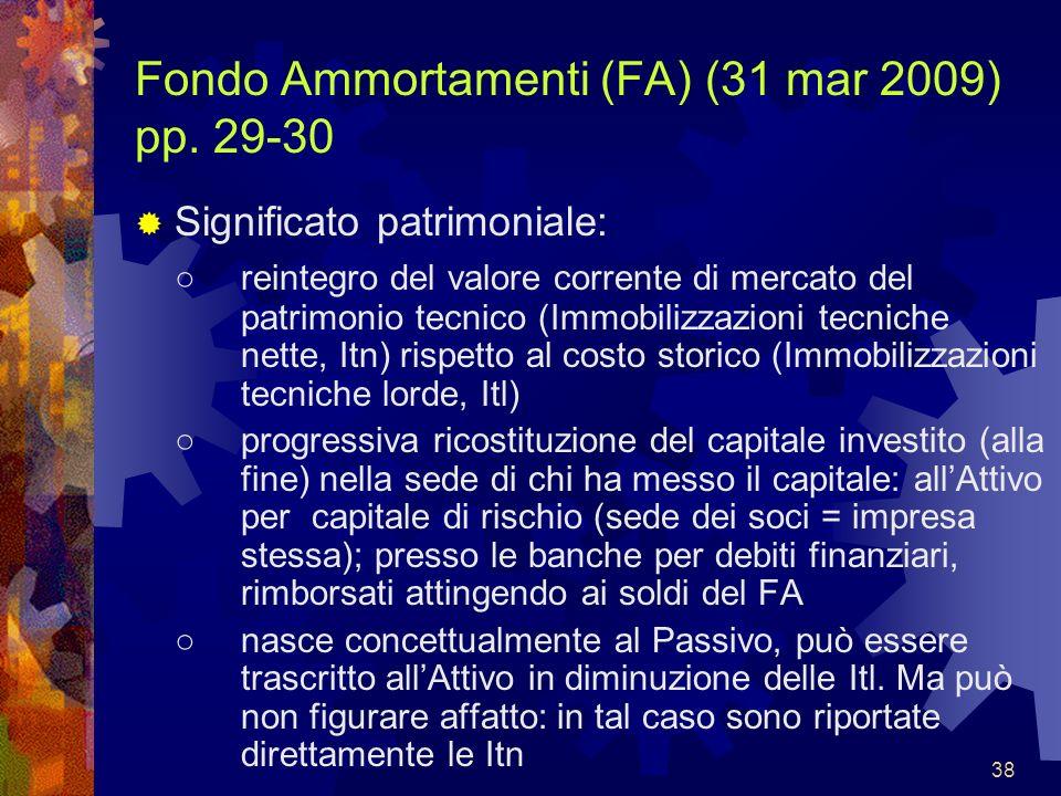 38 Fondo Ammortamenti (FA) (31 mar 2009) pp. 29-30 Significato patrimoniale: reintegro del valore corrente di mercato del patrimonio tecnico (Immobili