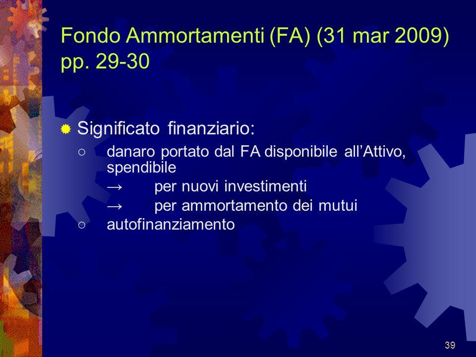 39 Fondo Ammortamenti (FA) (31 mar 2009) pp. 29-30 Significato finanziario: danaro portato dal FA disponibile allAttivo, spendibile per nuovi investim