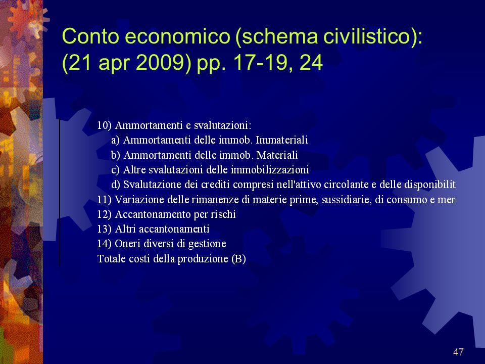 47 Conto economico (schema civilistico): (21 apr 2009) pp. 17-19, 24