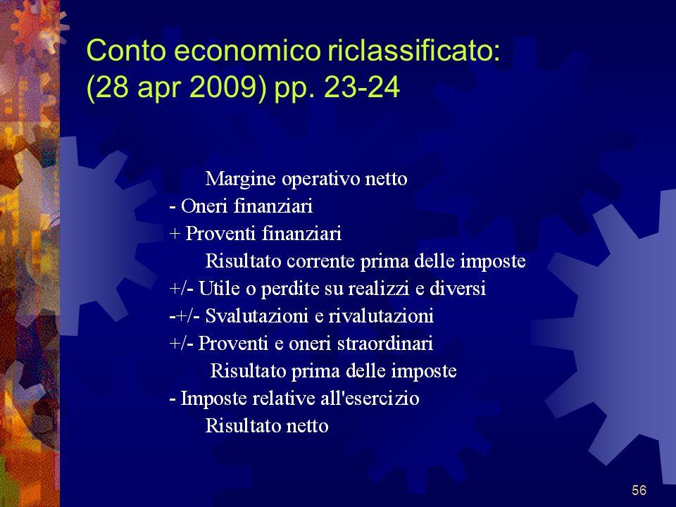 56 Conto economico riclassificato: (28 apr 2009) pp. 23-24