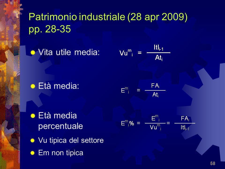 58 Patrimonio industriale (28 apr 2009) pp. 28-35 Vita utile media: Età media: Età media percentuale Vu tipica del settore Em non tipica