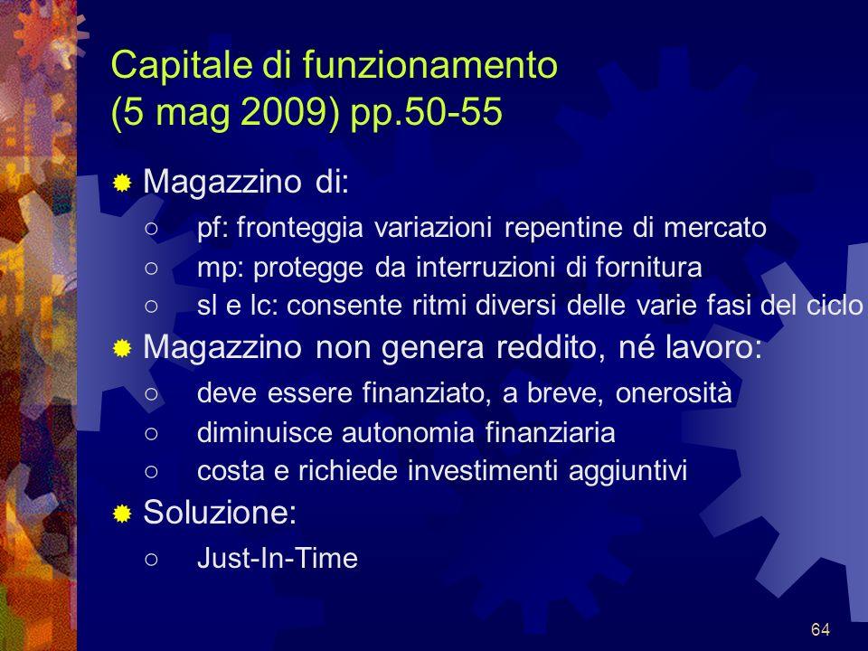 64 Capitale di funzionamento (5 mag 2009) pp.50-55 Magazzino di: pf: fronteggia variazioni repentine di mercato mp: protegge da interruzioni di fornit