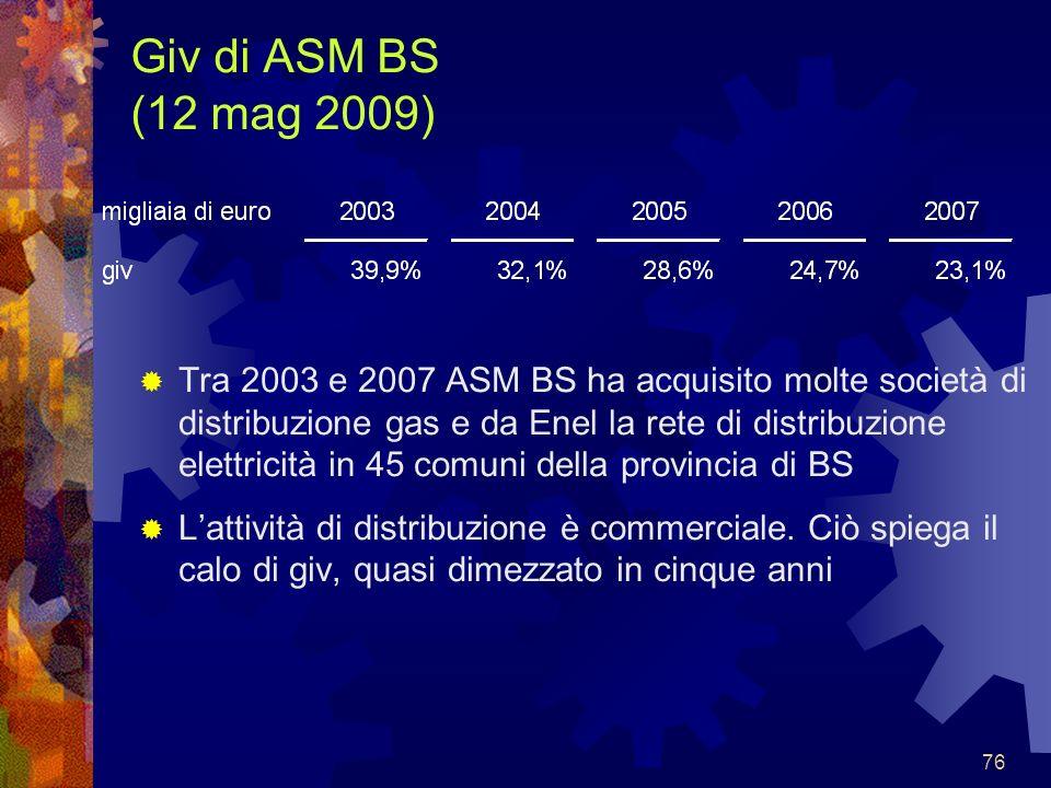 76 Giv di ASM BS (12 mag 2009) Tra 2003 e 2007 ASM BS ha acquisito molte società di distribuzione gas e da Enel la rete di distribuzione elettricità i