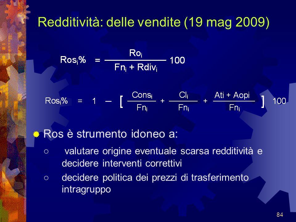 84 Redditività: delle vendite (19 mag 2009) Ros è strumento idoneo a: valutare origine eventuale scarsa redditività e decidere interventi correttivi d