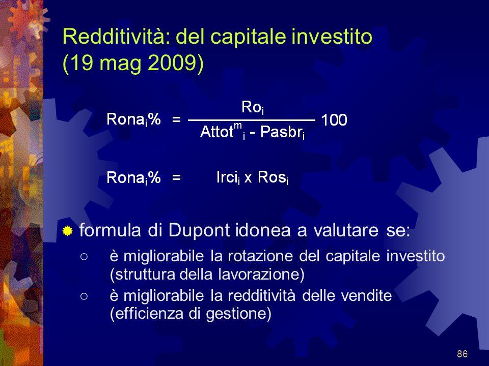 86 Redditività: del capitale investito (19 mag 2009) formula di Dupont idonea a valutare se: è migliorabile la rotazione del capitale investito (strut