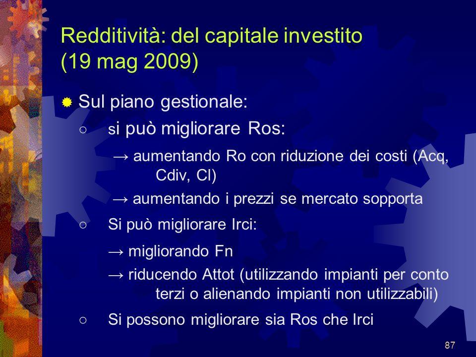 87 Redditività: del capitale investito (19 mag 2009) Sul piano gestionale: s i può migliorare Ros: aumentando Ro con riduzione dei costi (Acq, Cdiv, C