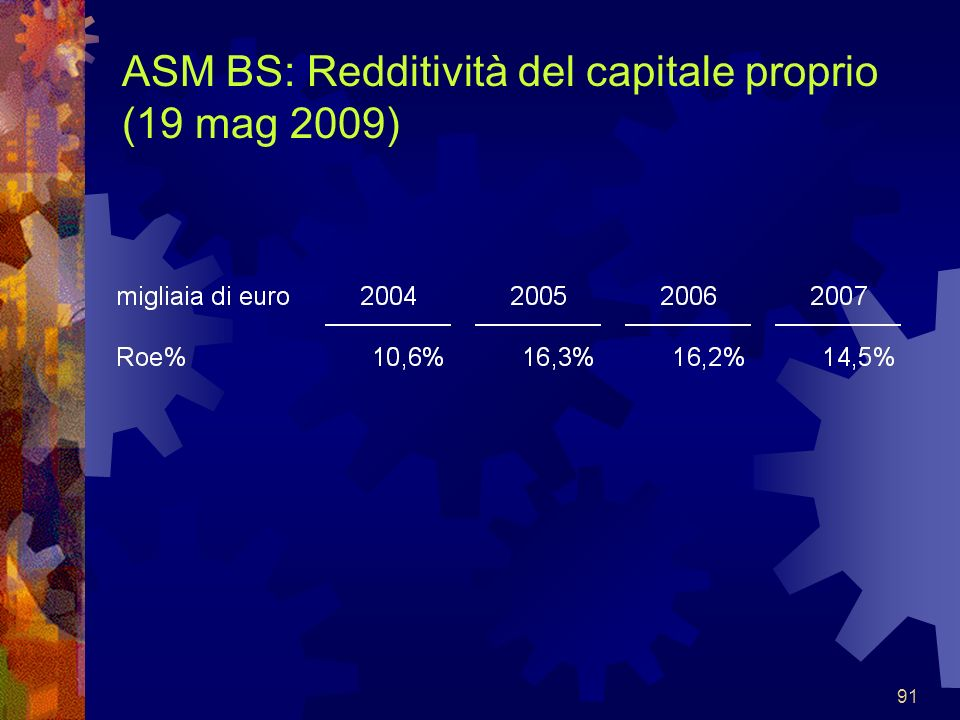 91 ASM BS: Redditività del capitale proprio (19 mag 2009)